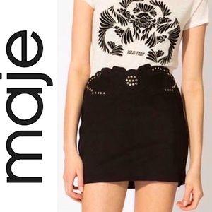 Maje jackpot black suede studded mini skirt 0 XS